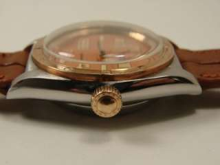 VINTAGE ROLEX BUBBLE BACK REF 3372 SS/PINK GOLD WATCH. SERVICED