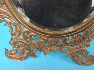 Antique Gold Brass Iron Vanity Mirror + Stand Intricate Wall Table
