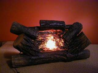 Electric Fireplace Logs Insert Motion Light w Real Wood Logs