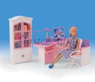 Modern Home Office Set for Barbie Table,Chair,Book Cabinet,Computer