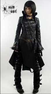 WOMEN MEN fashion punk goth rock black long jacket blazer coat S XL