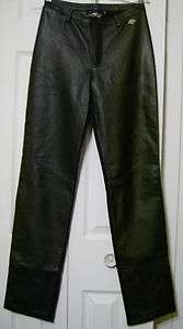 HARLEY DAVIDSON MOTORCYCLE WOMENS BLACK LEATHER RIDING PANTS Size 2