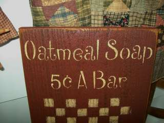 OATMEAL SOAP HAND PAINTED CHECKER BOARD SIGN |
