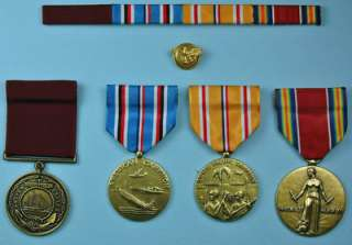 WWII Navy Pacific Medals, old style Good Conduct Medal, Discharge