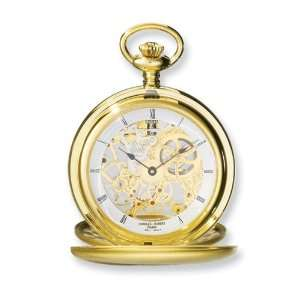 Hubert Gold plated Stainless Double Cover Satin Pocket Watch Jewelry