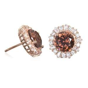 Rose Gold Plate Brown CZ Donut Earring CHELINE Jewelry