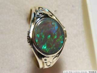 Antique 14K Ring w. Black Opal, 1.3 c   VIDEO