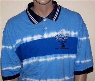 5ive Jungle Mens Size 3XL Blue Striped Tie Dye Short Sleeve Polo Shirt