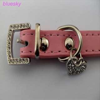 pink leather collar 3 Row flashing diamond pet collars