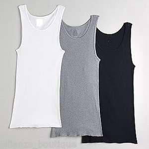 of 3 Mens 100% Cotton Tank Top A Shirts Wife Beater Under Shirt Wear