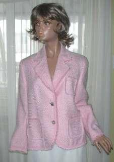 NWT $645 JOBIS Germany   Pink tweed blazer jacket w/ jewel buttons