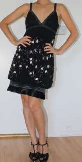NWT Sue Wong Black Beaded Flower Applique Cocktail Dress 0 2 XS S