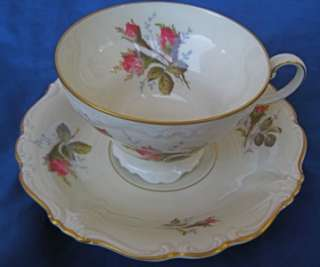 Rosenthal Pompadour Footed Cups and Saucers Selb Germany Moss Rose