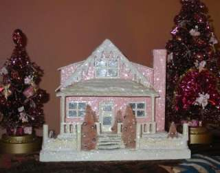 Med Pink Cottage Lighted Putz Christmas House Paper Mache