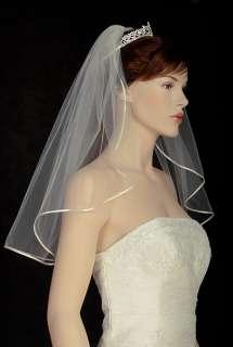 1T WHITE OR Ivory Wedding Bridal Veil Shoulder Tiara 12