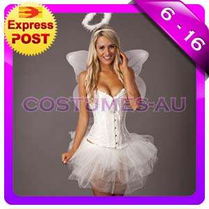 New White Angel Costume Heavenly Halloween Fairy Corset Fancy Party