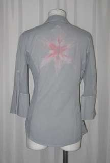 Standard James Perse Gray Charcol Pink Cotton Lilly Blouse Shirt Top 3