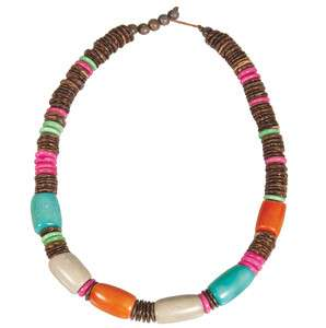Mariposa Tagua Nut and Coconut Shell 18 Necklace   Sunset