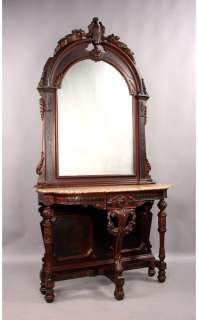 American Victorian Console & Matched Arched Top Mirror