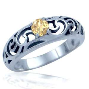 Natural Citrine 925 Sterling Silver Solitaire Filigree Ring