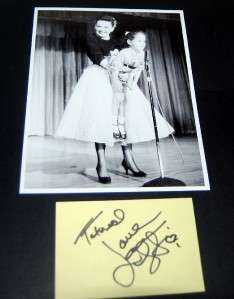 SINGER ACTRESS LORNA LUFT SIGNED CARD & GREAT PRINT W/ MOM JUDY