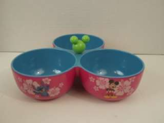 Triple Snack Bowl Condiment Set Mickey Mouse Blue Pink Green MM head