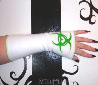DIY Cyber Goth Neon Green Biohazard Heart Arm Warmers