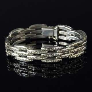 Vtg Art Deco 1920s Clear Paste Rhinestone Diamante Bracelet Possibly
