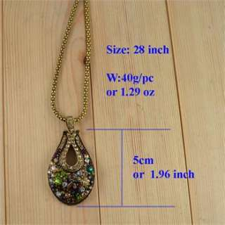 Antique Design Brown Crystal Drop Bead Pendant Costume Cocktail