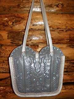 Western Cowboy Boot Top Leather Purse Silver Spots Heart Conchos Blue