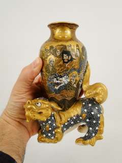 Antique 19th C. Japanese meiji Period Satsuma Hundred Men & Dog Vase