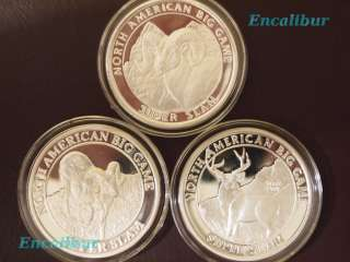 North American Hunting Club Big Game Super Slam 1oz silver rounds ALL