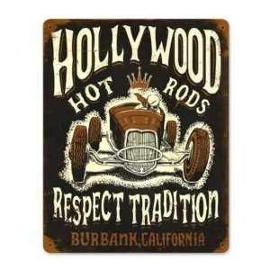 Hollywood Hot Rod Roadster Respect Vintage Metal Sign