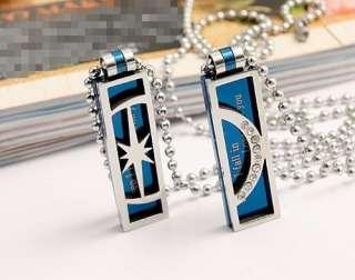 Men Women Boy Girl Moon Star Lovers Necklaces Couple Pendants blue