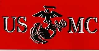 USMC EGA Black & Red Bumper Sticker Decal Marine Corps