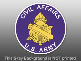 Round Civil Affairs Seal Sticker   decal logo army car