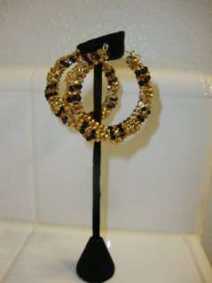 Bamboo Hoop Earrings Covered in Crystals (fully covered)