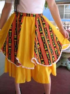 VINTAGE ROCKABILLY AZTEC WESTERN Square Dance Skirt S/M