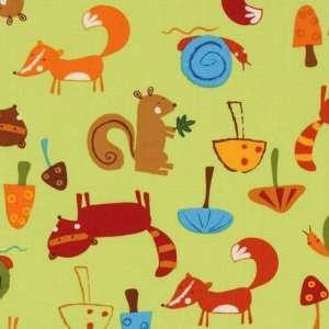 green forest animals fabric fox squirrel racoon (Sold in