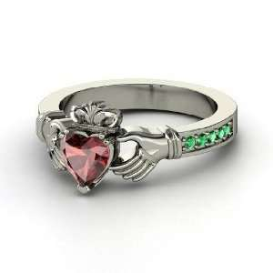 Claddagh Ring, Heart Red Garnet Sterling Silver Ring with
