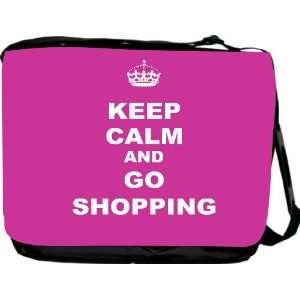 com Keep Calm and Go Shopping   Pink Rose Color Messenger Bag   Book