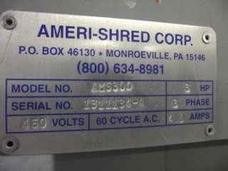 AMERI SHRED AMS 300 16 THROAT 1/4 COMMERCIAL PAPER SHREADER 460V 3HP