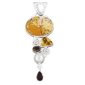 Multi Gemstone Pendant Artisan Indian Jewelry Christmas Gift Jewelry