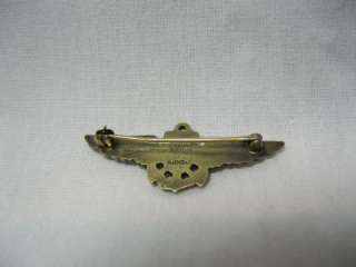 AMICO 1/20 10KT GOLD ON STERLING SILVER WWII NAVY Wings Pin Brooch