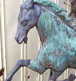 RARE LARGE FOLK ART ANTIQUE RUNNING HORSE WEATHERVANE PATCHEN J. W