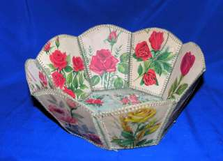 VTG CRAFTS, FOLK ART VALENTINE & FLOWERS GREETING CARDS BOWL, C 1950