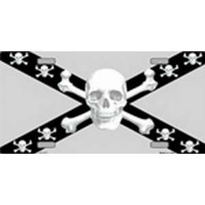 Confederate Flag Skull Black & Silver License Plates Plate
