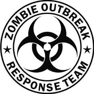 ZOMBIE OUTBREAK RESPONSE VEHICLE decal sticker, White