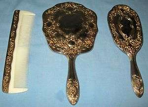 VINTAGE ART NOVEAU STYLE 3PC VANITY SET MIRROR BRUSH COMB FLORAL