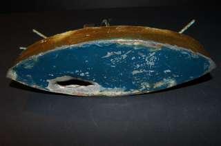Old Antique c 1900 Hand Made Tin Naval Battleship Toy Bank Folk Art